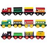 Best Brands Toys - Playbees 12-Piece Wooden Train Cars Magnetic Set Includes Review
