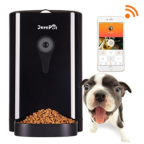 Jempet SmartFeeder Automatic Pet Feeder, Auto Food Dispenser for Dogs and Cats, Timer Programmable, Portion Control, HD Camera for Voice and Video Recording, Controlled by Smart Phone with WIFI