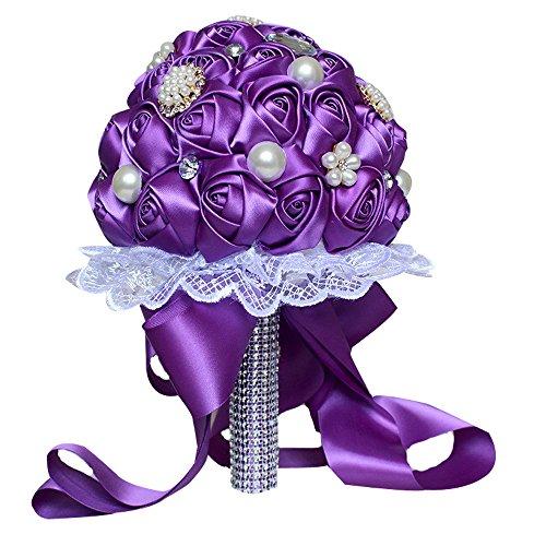JAROWN Handmade Silk Roses Bridal Wedding Bouquet Romantic Luxury Deluxe Bridesmaid ArtificialHand Flower for Decoration Home (PURPLE)