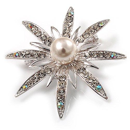 Gemstone Star Brooch (Bridal Crystal Simulated Pearl Star Brooch (Silver Tone))