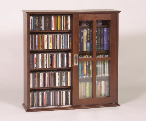 Wall Mounted Sliding Door Mission Style Media Storage Cabinet, Walnut (Media Storage Walnut Cabinet)
