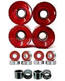 Everland Longboard Skateboard Cruiser Wheels 60x44mm w/ Bearings & Spacers (Clear Red)