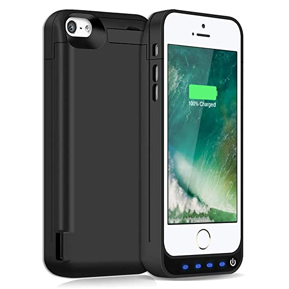 cheap for discount 0bf92 4237f Battery Case for iPhone 5S/5SE/5C/5,4800mAh Rechargeable Charging Case for  iPhone 5S 5SE Extended Charger Case iPhone 5S/5SE/5C/5 Protective Battery  ...
