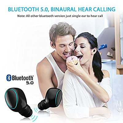 Bluetooth 5.0 Wireless Earbuds, Bluetooth Wireless IPX5 Sweatproof Mini Headset In-Ear Earphones with Portable Magnetic Charging Case, Supports Binaural Calls Stereo & Touch Control