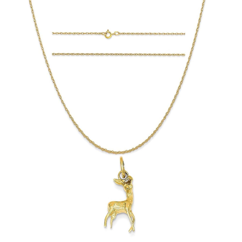 14 Kイエローゴールドポリッシュopen-backed鹿チャームon 14 Kイエローゴールドロープチェーンネックレス B01MYWK0L8 チャーム + 20 インチロープチェーン