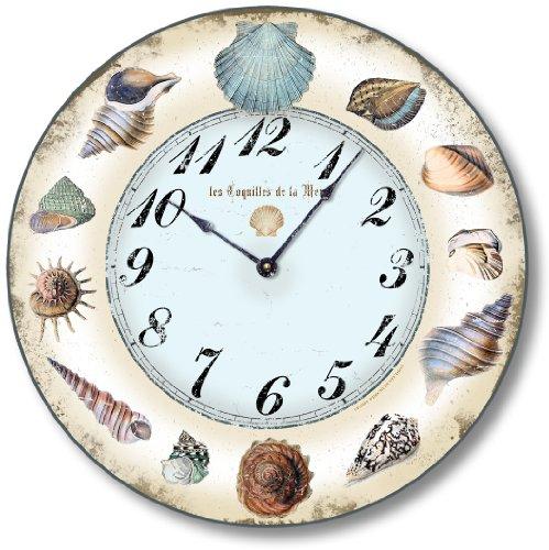 Fairy Freckles Studios Item C2122 Shabby Style Seashell Clock 12 Inch Diameter