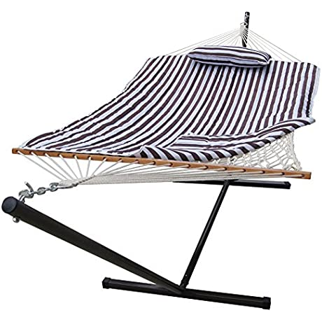 Sundale Outdoor 12 Feet Steel Stand With Rope Hammock Combo Quilted Polyester Pad And Pillow Brown White Stripe