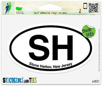 "V Ventnor City New Jersey Oval car window bumper sticker decal 5/"" x 3/"""