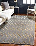 Unique Loom Marilyn MonroeTM Glam Collection Carved Geometric Modern Gray Gold Area Rug (2' x 3')
