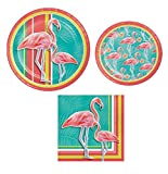 Creative converting Island Oasis Flamingo Summer Luau Pool Party Bundle, 9″ Luntch Plates, 7'' Dessert Plates and 2 ply paper napkins.