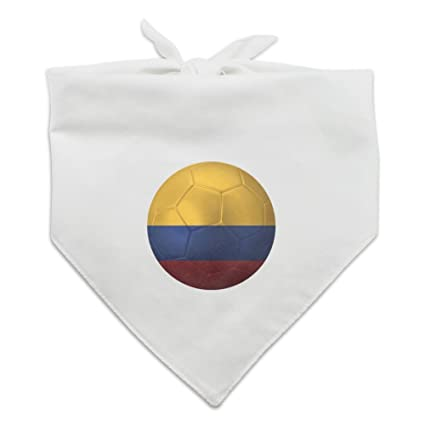 Colombia Flag Soccer Ball Futbol Football Dog Pet Bandana - White