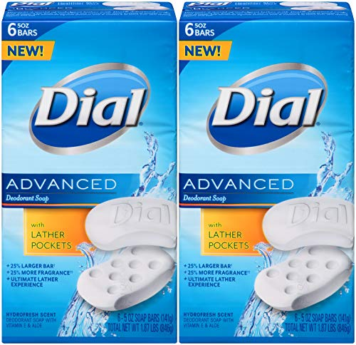 Dial Advanced Deodorant Soap, Hydrofresh Scent, 5 Ounce Bars, 6 Count (Pack of 2) 12 Bars - Ounce Bar 5