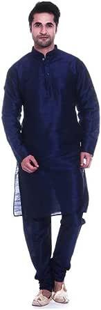 Indian Handicrafts Export Men's Blue Solid Full Sleeve Kurta and Churidar Set