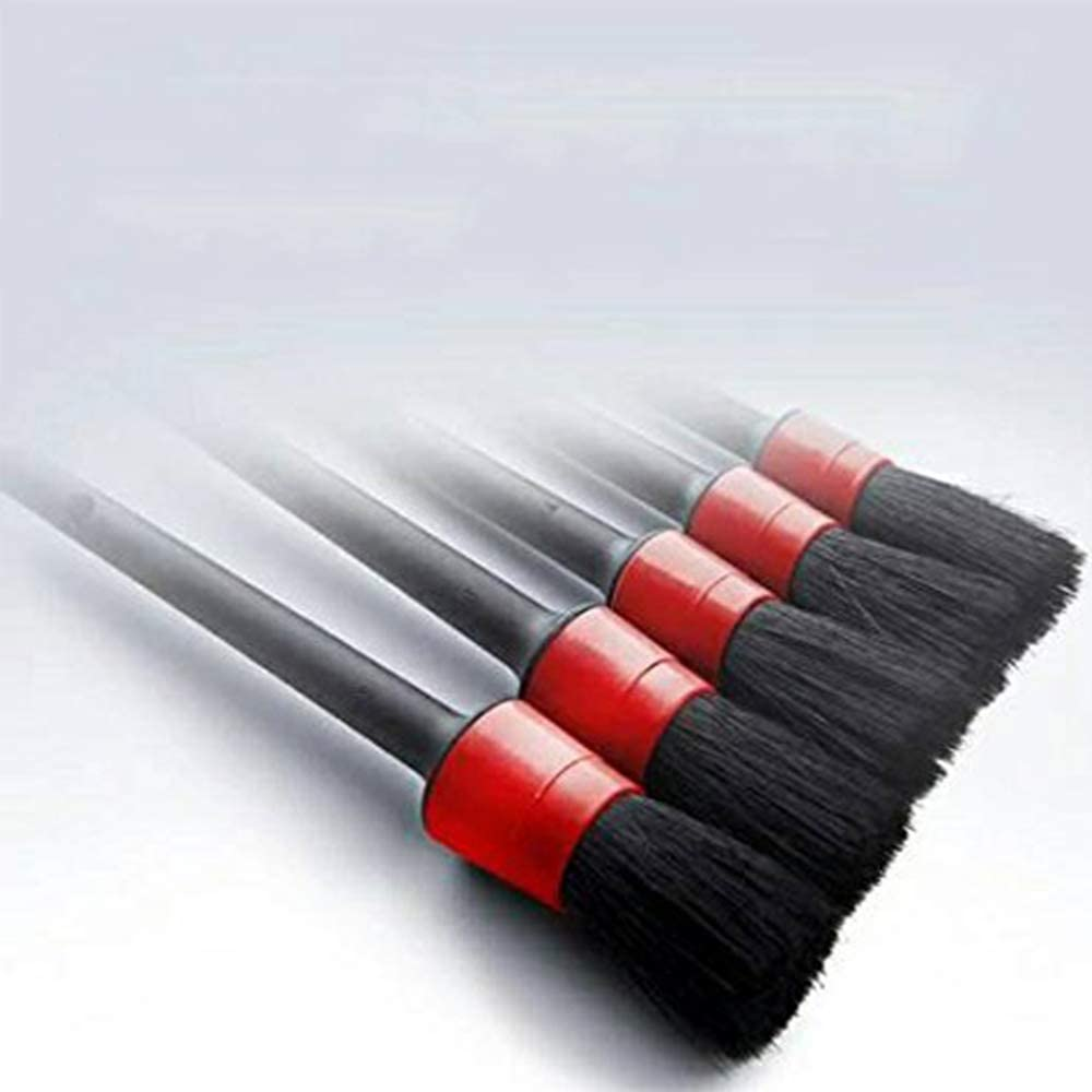 Auto Detailing Brush Set Perfect for Car Motorcycle Automotive Cleaning Wheels Emblems Creative and Useful Dashboard Interior Leather Air Vents Fliyeong Detail Brush Set of 5 Exterior
