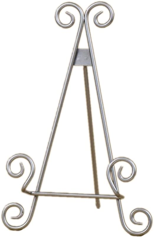 Red Co Industrial Style Decorative Plate Stand and Art Holder Easel in Brushed Silver Finish 15 H 321588
