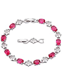 BMALL Silver Red Cubic Zirconia Ruby Bracelets Bangles For Teen Girls Pulseiras Femininas 20Cm 7.87 Inch B241