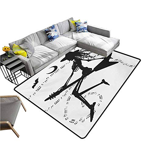 Large Floor Mats for Living Room Colorful Music,Witch Flying on Electric Guitar Notes Bat Magical Halloween Artistic Illustration,Black White 48