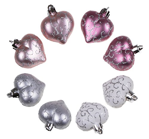 Christmas Heart Ornament Set by Clever Creations | Small Pink and White Heart with Glitter | Lightweight Shatter Resistant Design | 8 Pack | Festive Holiday Decor | 2