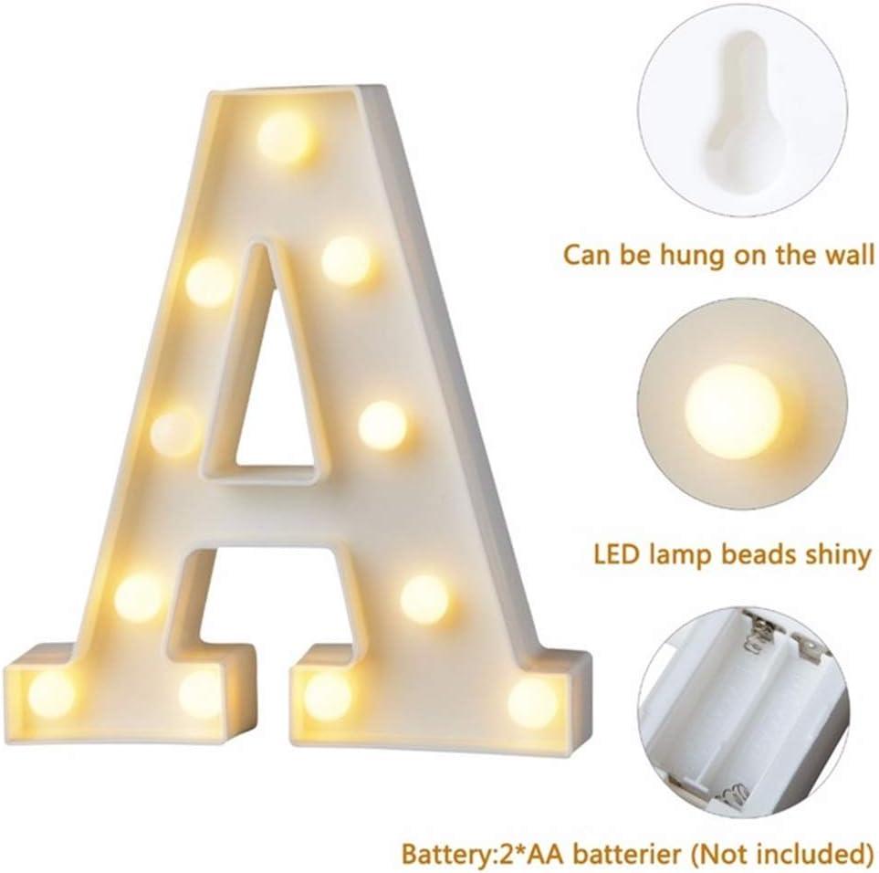 Luz Letra J-Blanco marquesina letras 23cm LED de luces de carta de madera firmar a-Z