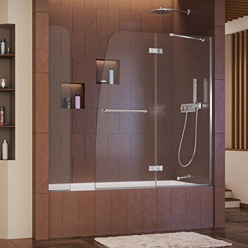 - DreamLine Aqua Ultra 57-60 in. W x 58 in. H Frameless Hinged Tub Door with Extender Panel in Chrome, SHDR-3448580-EX-01