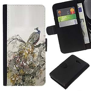 Planetar® Modelo colorido cuero carpeta tirón caso cubierta piel Holster Funda protección Para Sony Xperia M2 / M2 dual ( Feathers Bird Vintage Wallpaper )