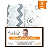 Bassinet Sheet Set - 2 Pack Jersey Cotton Fitted Sheets - Grey/White Unisex Baby Bedding Design Image