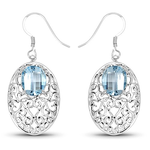 Johareez Blue Topaz Filigree Earrings in Sterling Silver