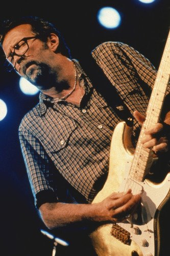 Eric Clapton 1990's in Checkered Shirt in Concert Playing Guitar 11x17 Mini Poster
