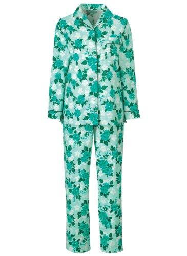Petite Flannel Pajamas (Floral Flannel Pajamas, Mint, Size Small Petite)