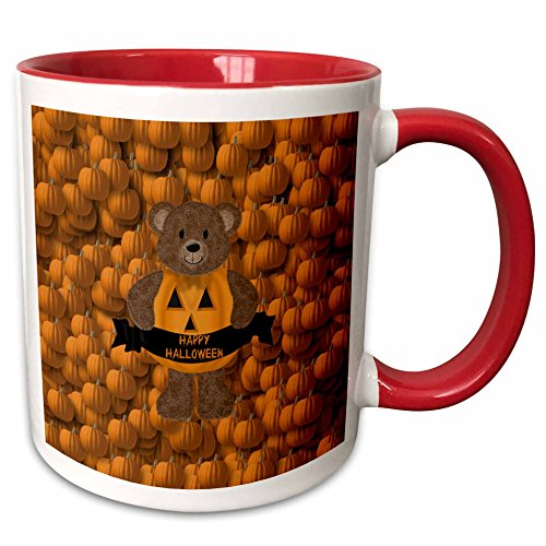 (3dRose Beverly Turner Halloween Design - Pumpkin Bear, Happy Halloween, Pumpkin Background - 15oz Two-Tone Red Mug)