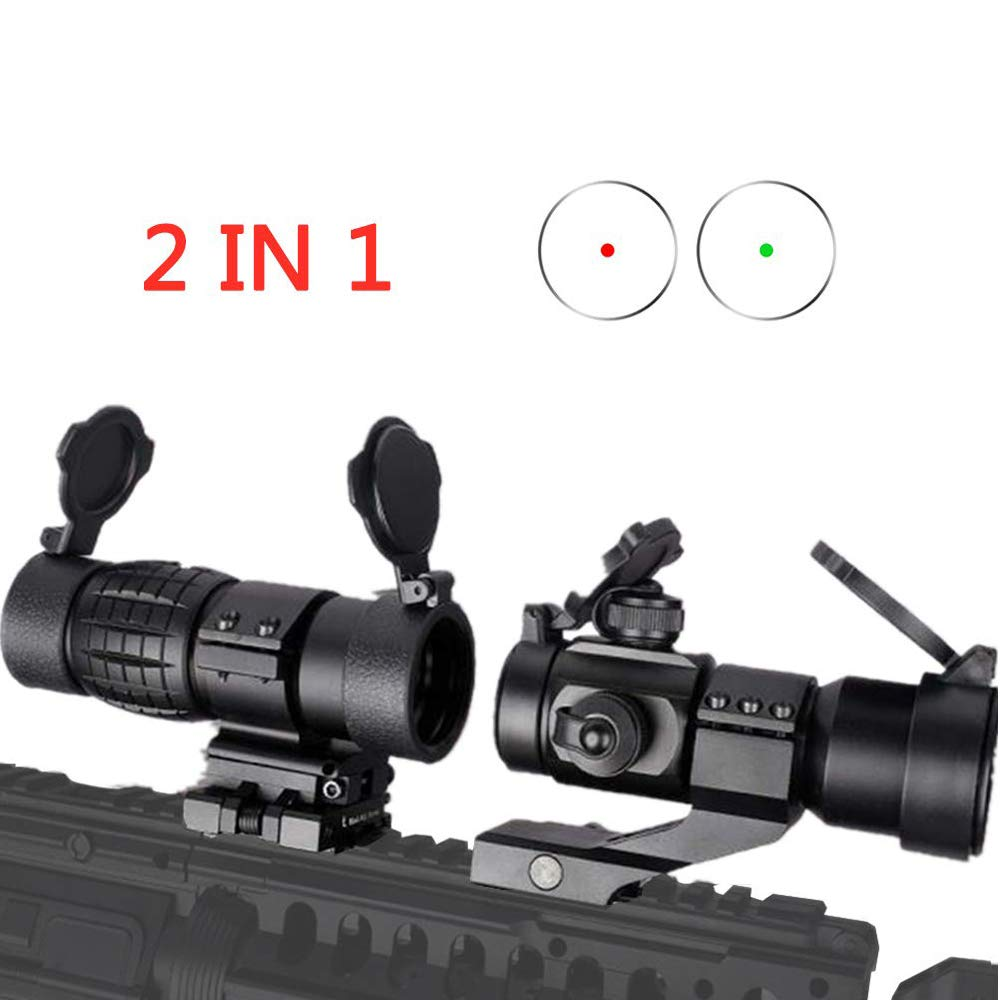 Luger Tactical Reflex 4 MOA Red Green Dot Sight with Cantilever Mount + 3X Magnifier Scope with Quick Detach Flip to Side Riser Combo Kit for Hunting Shooting by Luger
