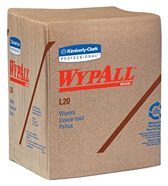 """Kimberly-Clark Wypall L20 Multi-Ply Paper Wiper, 13"""" Length x 12-1/2"""" Width, Tan (12 Pack, of 68)"""