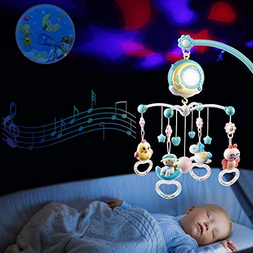 rosemaryrose Baby Mobile,cot Mobile,Baby Musical Crib Mobile With Lights And Music,Musical Baby Crib Mobile Bed Wind Chime 360/°Rotating Wind Up Rattle