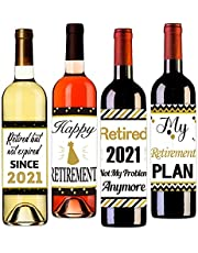 PETCEE Retirement Gifts for Women Men 2021 Retirement Wine Bottle Label Stickers Retired Gifts Retirement Present Party Wine Decorations for Retired Teacher Nurse Retirement Party Decor Supplies