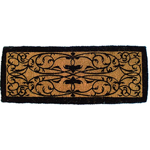 - Entryways Iron Gate Border Extra Thick Handmade, Hand-Stenciled, All-Natural Coconut Fiber Coir Doormat 36