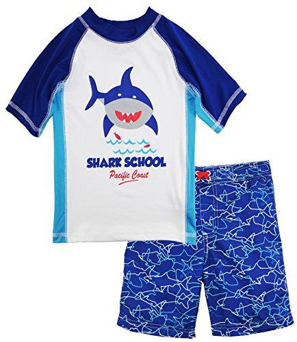 iXtreme Toddler Boys' Shark Rash Guard Set, Royal b LUE, 4T
