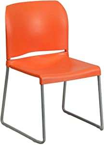 Flash Furniture HERCULES Series 880 lb. Capacity Orange Full Back Contoured Stack Chair with Gray Powder Coated Sled Base