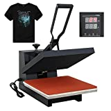 "Arts & Crafts : F2C 15"" x 15"" Black Digital Clamshell Heat Press Transfer T-shirt Sublimation Machine (15""x 15"" black)"