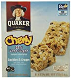 Quaker Cookies N Cream Chewy Granola Bars Reduced Sugar 8 Bars Per Pack 6.72 OZ (Pack of 12)