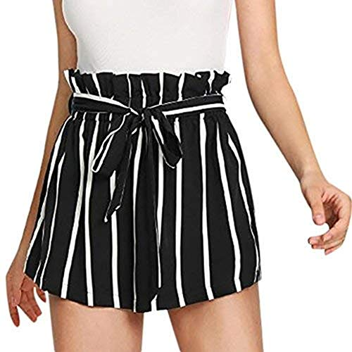 Women Retro Stripe Casual Fit Elastic Waist Pocket Self Tie Short Pants Black-1, CN S