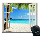 island mouse pad - Smooffly Gaming Mouse Pad Custom,Ocean Mouse Pad,Tropical Palm Trees on an Island Beach Through White Wooden Windows Non-Slip Rubber Mouse pad