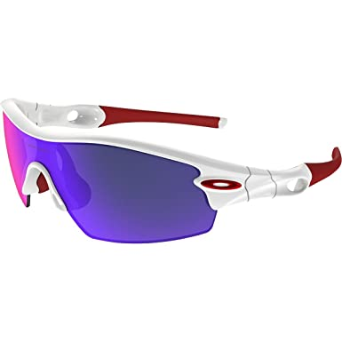 oakley white glasses b0io  Oakley Men's Radar Pitch Polished White w/ Red Iridium Sunglasses