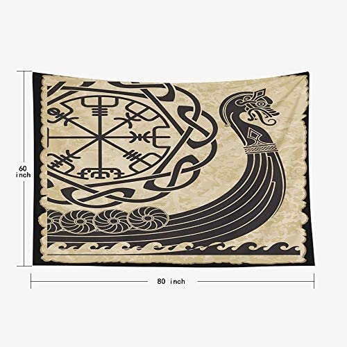 Wall Tapestry,Capsceoll 80×60 Inches of The Vikings Ancient Scandinavian Pattern And Norse Runes Isolated on White Drakkar Wall Hanging Tapestry