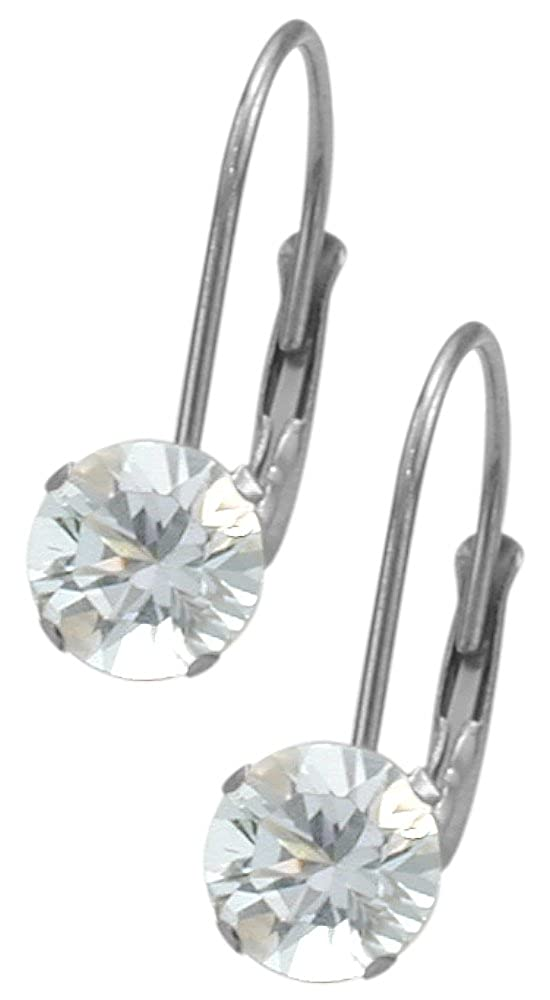 April Sterling Silver 1.10tcw. 5mm White Topaz Leverback Gem Earrings Elite Jewels E3132SS