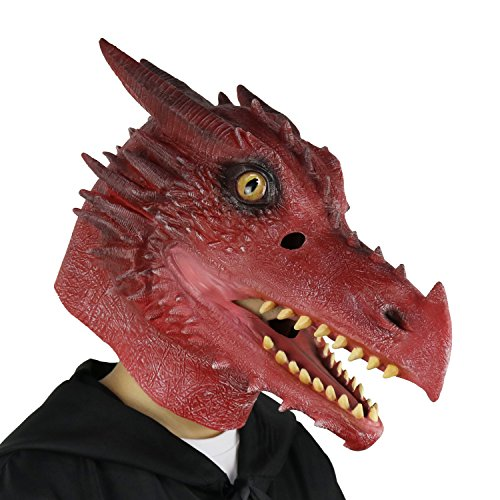 LarpGears Halloween Costume Latex Moving Mouth Mask Animal Dragon Mask for Cosplay (Fire Dragon) -