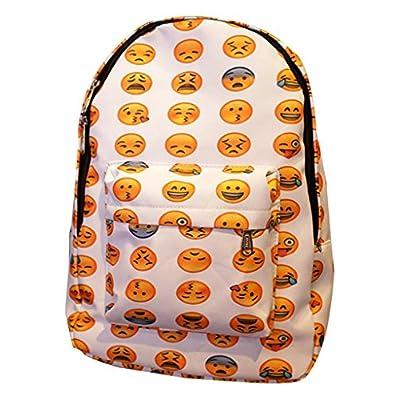 Remeehi Unisex Emoji Printed Canvas School Bag Smiling Backpack Travel Bag 85%OFF