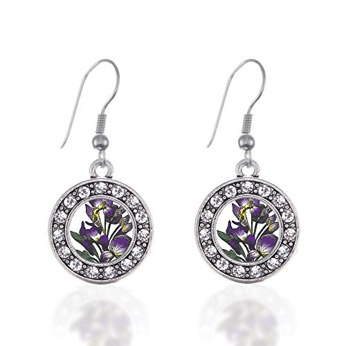 - Iris Flower Circle Charm Earrings French Hook Clear Crystal Rhinestones