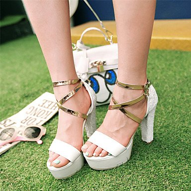 LFNLYX Las mujeres sandalias de verano caen otros PU Glitter Party & Noche Casual Chunky talón Sequin Pink White Silver Rainbow White