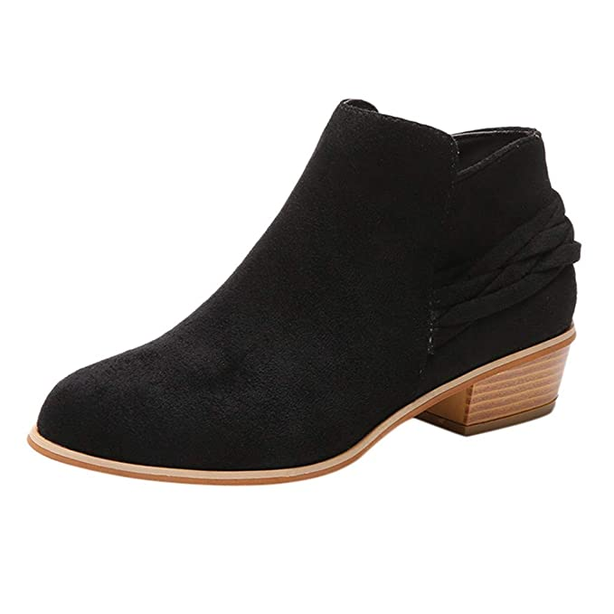 f4648bed15759 Amazon.com: Women's Suede Chunky Block Short Ankle Booties Ladies ...