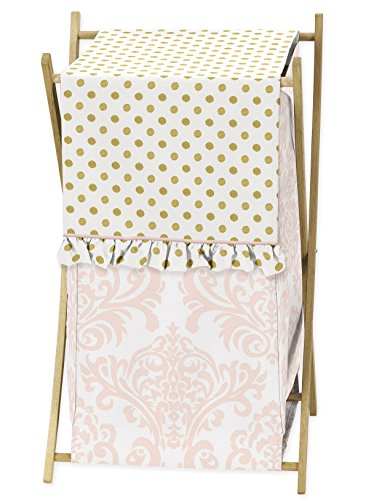 Sweet Jojo Designs Baby Kids Clothes Laundry Hamper for Blush Pink White Damask and Gold Polka Dot Amelia Girls Bedding Set